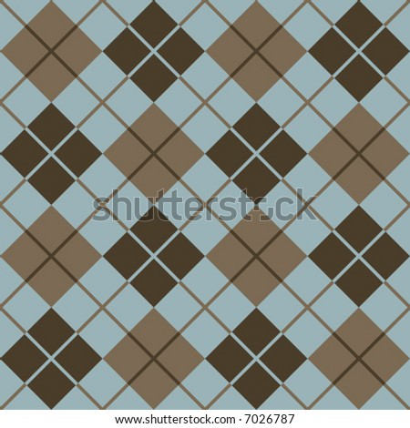"A seamless, repeating 12"" square vector argyle pattern in browns and light blue."