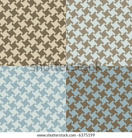 A seamless, repeating vector houndstooth pattern in four current fashion colorways.