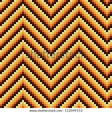 A seamless 60s retro zigzag pattern in warm colours, which is made of a mosaic of rounded squares. Perfect for repeat tiling or a stand alone wallpaper.