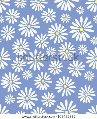 A seamless tile with a 60s retro flower design