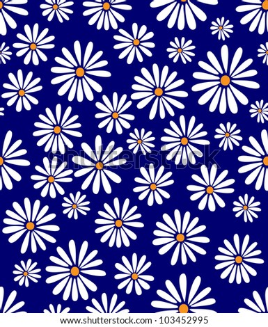 A seamless tile with a 60s retro flower design - stock vector