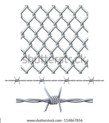 A seamless tiling diamond chainlink fence tile and barbed wire seamless tillable section