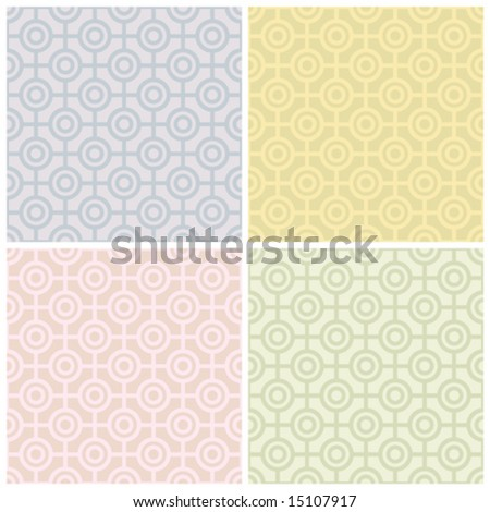 "A seamless vector geometric bulls eye pattern in four pastel colorways. Colors are grouped for easy editing. 6"" repeat."