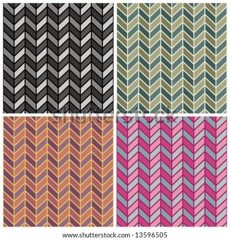 "A seamless vector herringbone pattern in four colorways. Repeat is 6""."