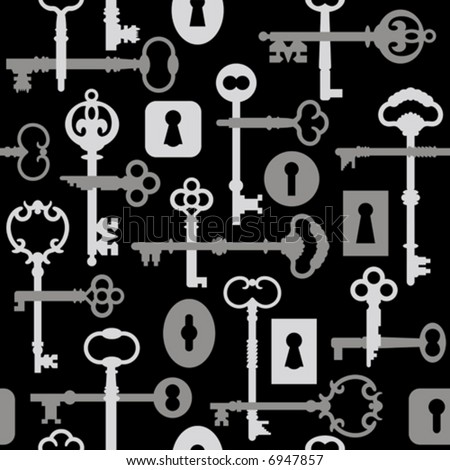 A seamless vector pattern of old-time skeleton keys in black and gray.