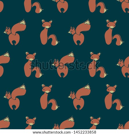 A seamless vector pattern with foxes on dark navy background. Surface print design for kids and animal lovers.