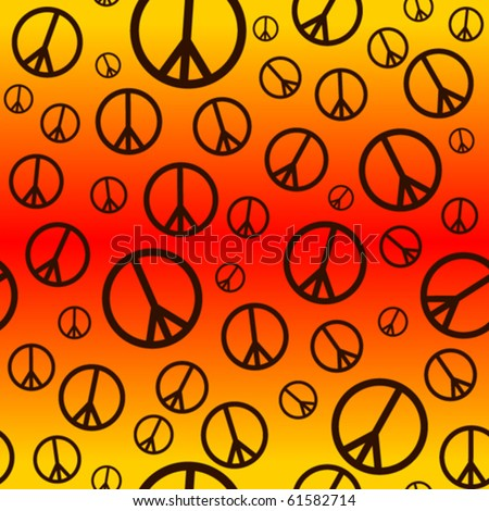 A seamlessly repeatable retro peace sign background.