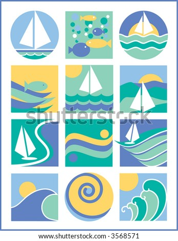 A second collection of 12 vector illustrations with a water-sailing theme.