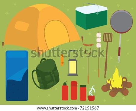A selection of camping accessories.