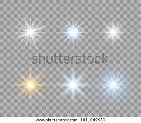 A selection of light transparent stars with radial rays. Flashes yellow, blue, white. Vector design elements on isolated background.