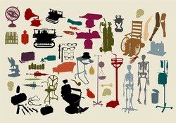a selection of objects with the theme,