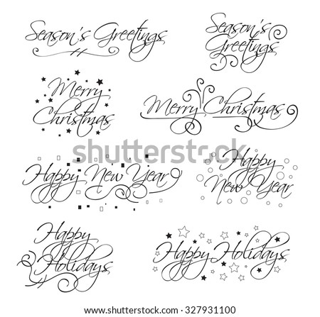 A selection of script holiday type with merry christmas, happy ...