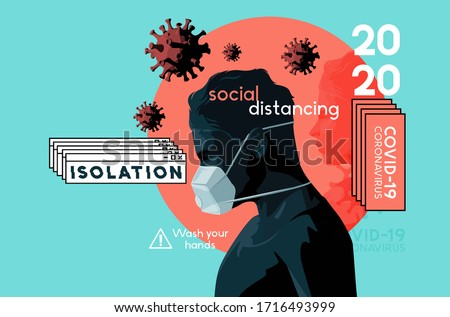 A self isolating man wearing a face mask in the Covid-19 crisis. Mental health, stress and anxiety caused by the outbreak of coronavirus. Vector illustration.