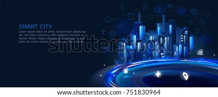 a semi-realistic illustration of a smart city at night, the concept for application development, the smart city, internet of things, smart life,information technology, surrounded by thin-line icon.