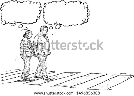 A senior citizen couple walking on a zebra crossing, with thought bubble over their head. Hand drawn vector illustration.