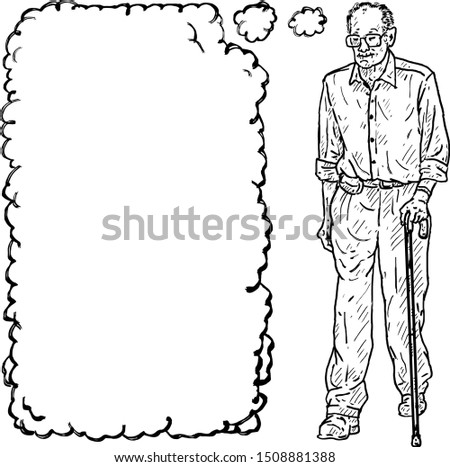 A senior citizen man walking with a cane, with a blank thought bubble over his head. Hand drawn vector illustration.