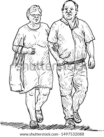 A senior citizen wife and husband walking together. Hand drawn vector illustration.