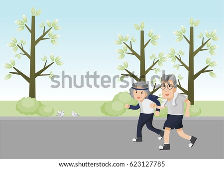 a senior couple running in a park. old man and old lady run. senior runner. vector