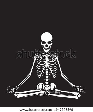 A serene meditating skeleton. Abstract illustration in black and white style.  Foto stock ©