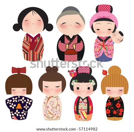 Stock Photo A series of cute japanese kokeshi characters.