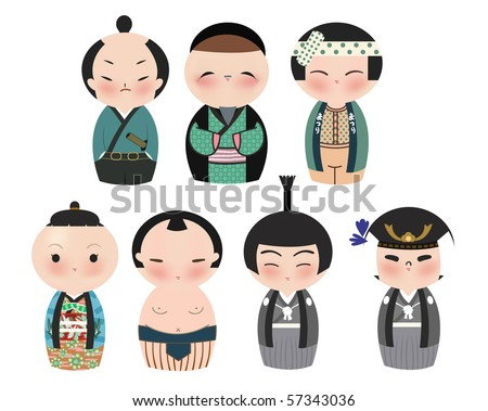 A series of cute japanese kokeshi characters.