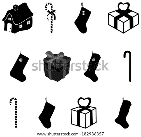 a series of drawings for christmas in shadow Stockfoto ©