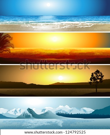 A series of illustrations of 4 geographical locations - stock vector