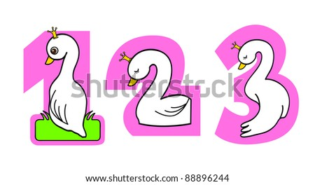 a series of numbering with swan