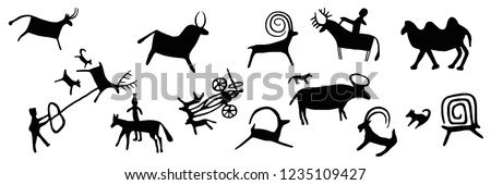 A series of petroglyphs, rock paintings of Central Asia, vector design