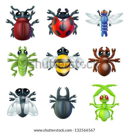 A series set of colourful insect bug icons, including ladybird mantis dragonfly bee ant grasshopper fly and other beetles