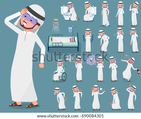 A set Arab man with injury and illness. There are actions that express dependence and death. It's vector art so it's easy to edit.
