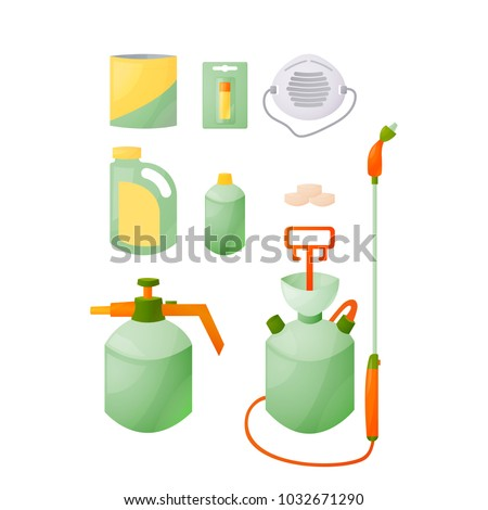 A set for spraying garden plants, gardening, farming, agriculture. Means for the destruction of pests, insects, caterpillars, tablets, liquid, granules, drops, chemical agents. Vector illustration iso