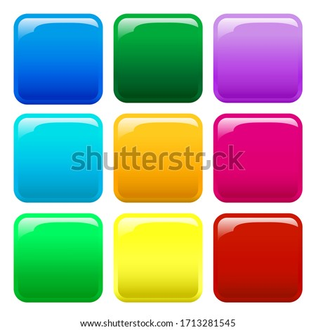 A set illustration of 9 colored glossy button icons