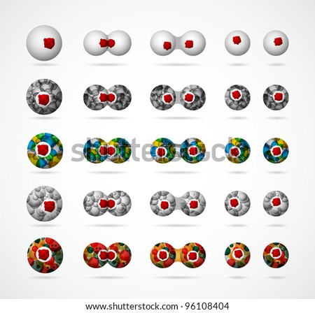 A set of abstract biological cells, showing the process of dividing. Eps 10