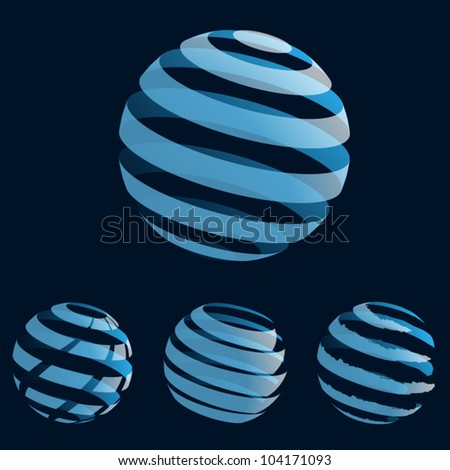A set of abstract blue planet icons. Vector illustration. Eps10.