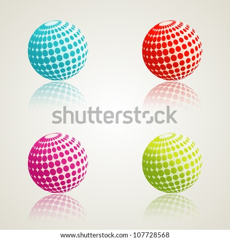 A set of abstract 3d icons. Vector illustration. Eps10.