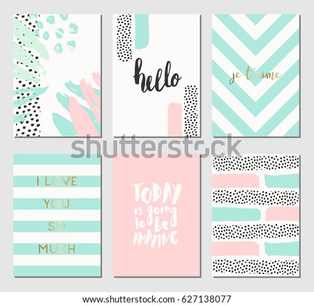A set of abstract design cards in mint green, white and pastel pink. Modern and stylish abstract composition poster, cover, card design.