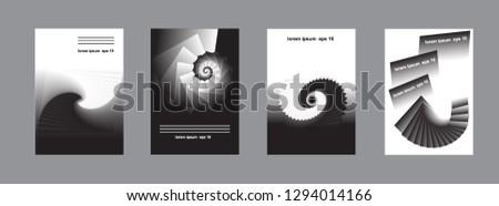 A set of abstract design for book cover, presentation, brochure, catalog, poster, magazine. Spiral design. Eps10 vector. #1294014166