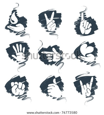 a set of abstract icons - hands - stock vector
