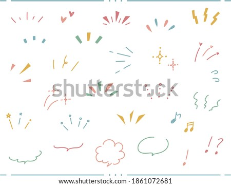 A set of abstract icons representing awareness, attention, concentration, surprise, ideas, inspiration, speech bubbles, and various hand-drawn illustrations