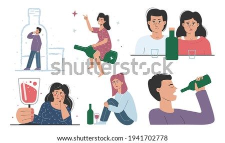 A set of alcohol addiction, drinking men and women. Bottles, booze, hangovers, depressive dependent people. ストックフォト ©