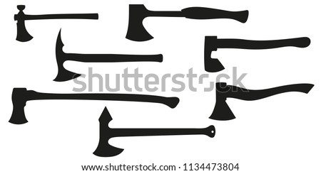 A set of all kinds of axes. Black silhouette axe. isolated on white background