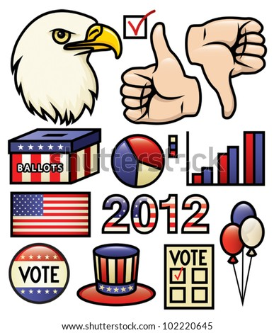A set of america and election themed illustrations. Vector.