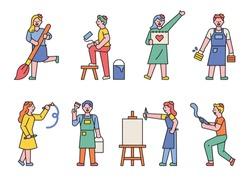 A set of artists' figures holding art tools. flat design style minimal vector illustration.