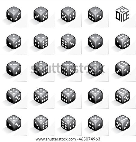 A Set of 24 Authentic Icons of Dice in All Possible Turns - Isometric Black Cubes with White Elements on Natural Paper Effect Background - 3d Illusion Gradient Graphic Stock photo ©