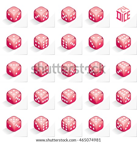A Set of 24 Authentic Icons of Dice in All Possible Turns - Isometric Magenta Cubes with White Elements on Natural Paper Effect Background - 3d Illusion Gradient Graphic Stock photo ©