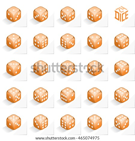 A Set of 24 Authentic Icons of Dice in All Possible Turns - Isometric Orange Cubes with White Elements on Natural Paper Effect Background - 3d Illusion Gradient Graphic Stock photo ©