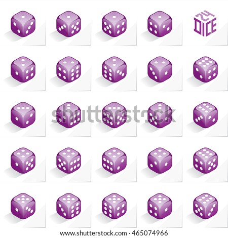 A Set of 24 Authentic Icons of Dice in All Possible Turns - Isometric Purple Cubes with White Elements on Natural Paper Effect Background - 3d Illusion Gradient Graphic Stock photo ©