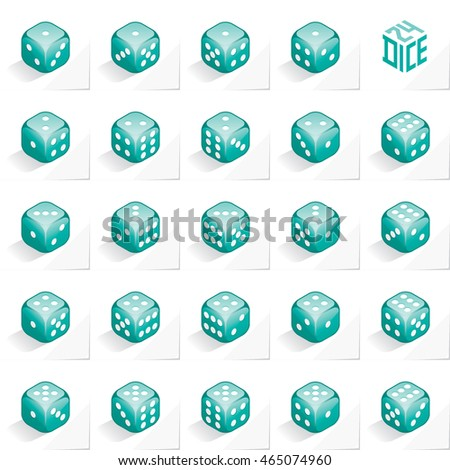 A Set of 24 Authentic Icons of Dice in All Possible Turns - Isometric Turquoise Cubes with White Elements on Natural Paper Effect Background - 3d Illusion Gradient Graphic  Stock photo ©
