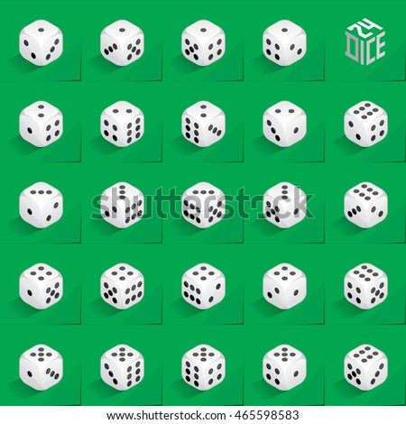 A Set of 24 Authentic Icons of Dice in All Possible Turns - Isometric White Cubes with Black Pips on Natural Paper Effect Background - 3d Illusion Gradient Graphic Stock photo ©